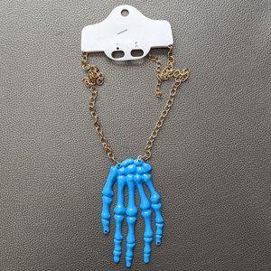 Blue Skeleton Hand Necklace